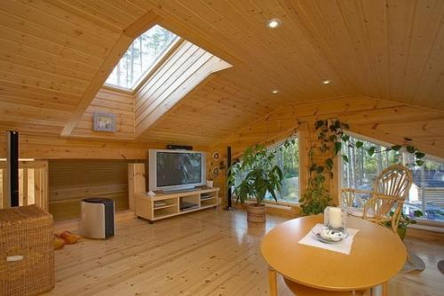 Устройство потолка в деревянном доме фото