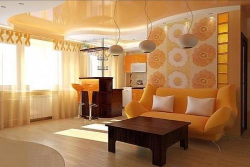 Комбинированный потолок гипсокартон и натяжной с подсветкой