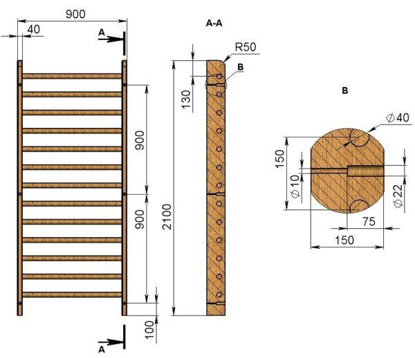 Размер шведской стенки своими руками