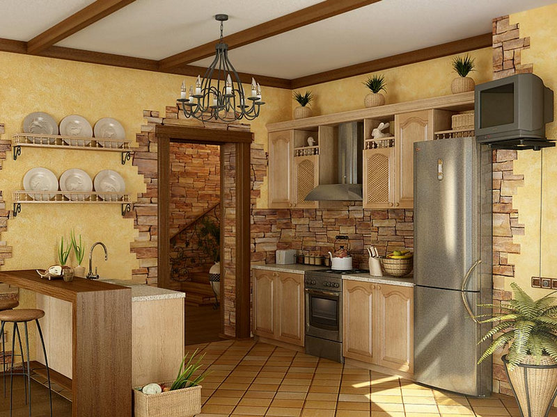 Дизайн кухня отделка камнем