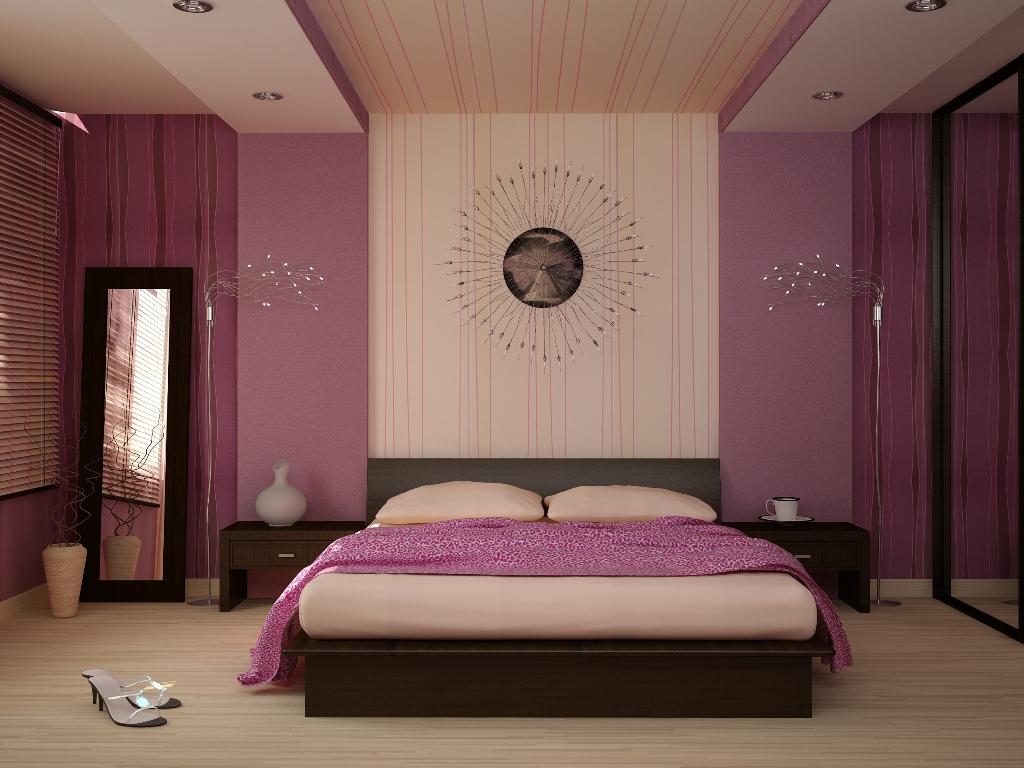 Интерьер спальни фиолетовая белая 50
