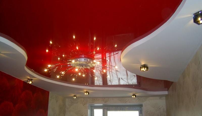 натяжной двухуровневый потолок фото